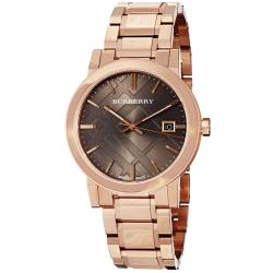 Burberry Men's 'Large Check' Brown Dial Rose Goldtone Steel Watch