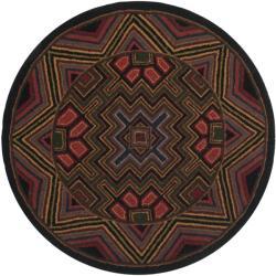 Safavieh Hand-hooked Maze Black Wool Rug (3' Round)