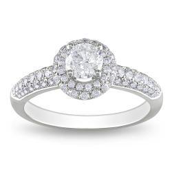 Miadora 14k White Gold 1ct TDW Diamond Halo Engagement Ring (G-H, I1-I2)