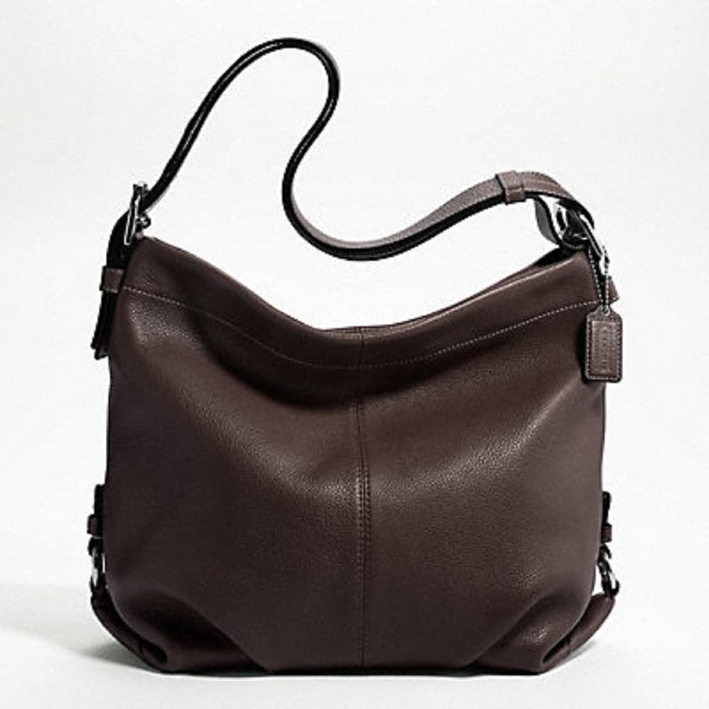 Coach Silvertone Mahogany-brown Solid-pebbled Leather Shoulder Bag