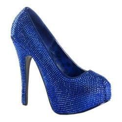Women's Bordello Teeze 06R Royal Blue Satin/Rhinestones