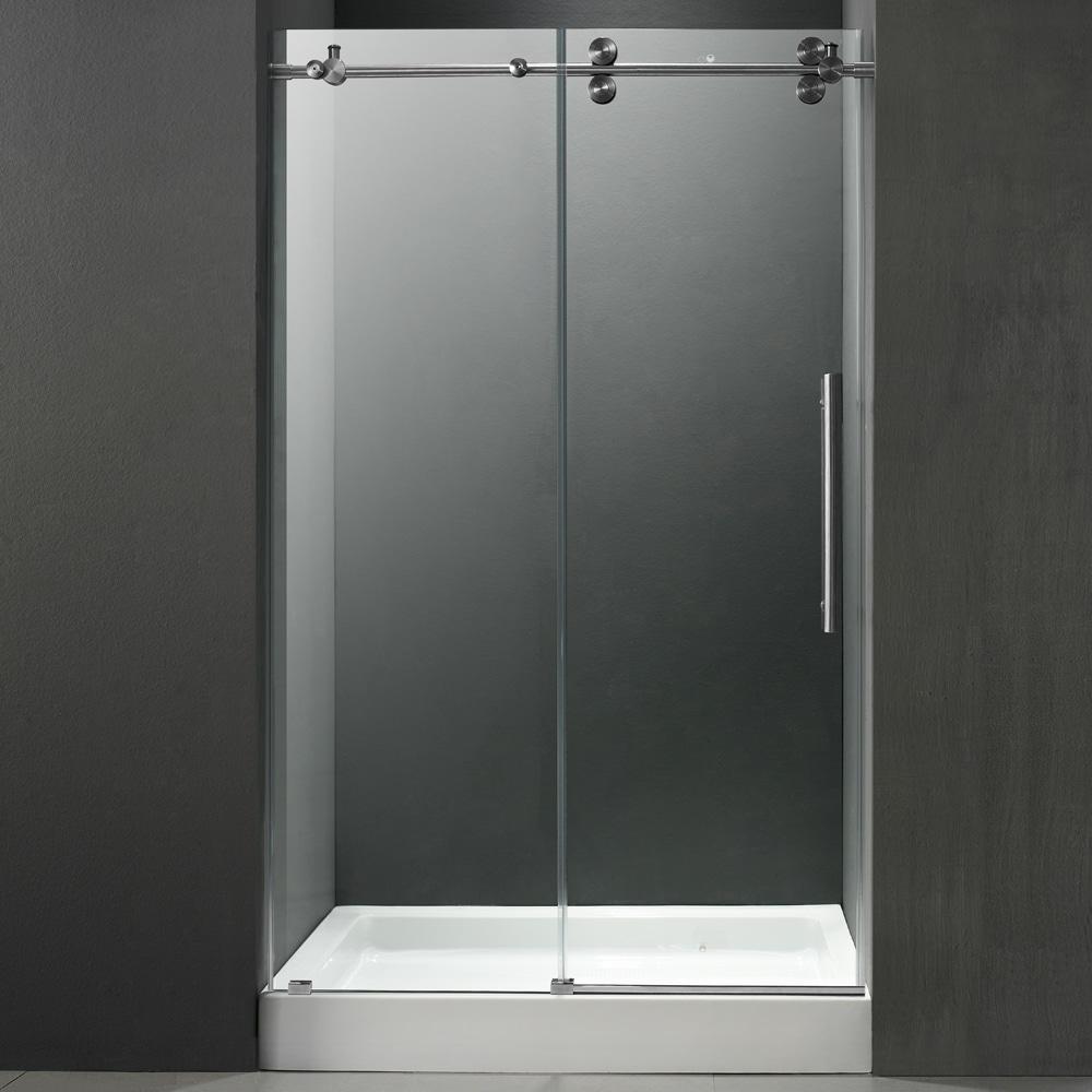 Frameless Glass Vigo VG6041CHCL48W2 48 Frameless Shower Door With 3 8 Clear