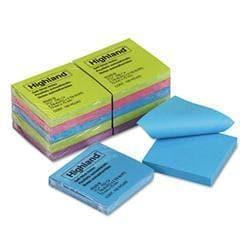Highland Sticky Note Pads- 3 x 3- Assorted- 100