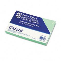 Oxford Unruled Index Cards- 5 x 8- Green- 100/Pack