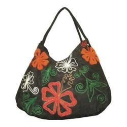 Women's Hobo Embroidered Bag Grey/Orange Flower