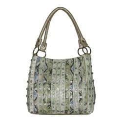 Women's Blingalicious Rhine Stone Stripe Handbag Q822 Gold