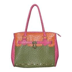 Women's Blingalicious Color Block Ostrich Handbag Q1312 Green