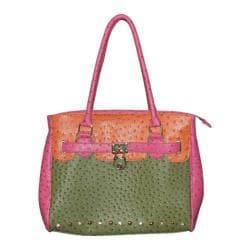 Women's Blingalicious Color Block Ostrich Handbag Q1312 Green
