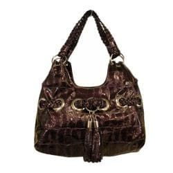 Women's Blingalicious Croco Print Fashion Handbag Q935 Purple