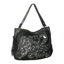 Women's Blingalicious Thick Stitching Rhinestone Handbag Q781 Black