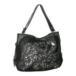 Women's Blingalicious Thick Stitching Rhinestone Handbag Q781 Black