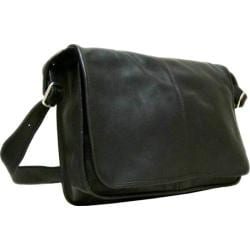 LeDonne Black Flapover Leather Messenger Bag