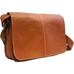 LeDonne Tan Leather Flapover Messenger Bag