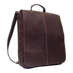 LeDonne Chocolate Distressed Leather Vertical Messenger Bag