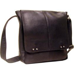 LeDonne LD-187 Black Leather 15-inch Laptop Messenger Bag