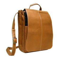 LeDonne Tan Leather Vertical Flapover Messenger Bag