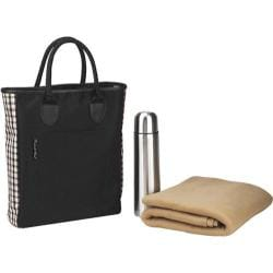 Picnic at Ascot Coffee and Blanket Tote Black/London Plaid