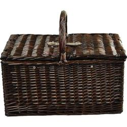 Picnic at Ascot Surrey Picnic Basket for Two with Coffee Brown Wicker/Blue Stripe
