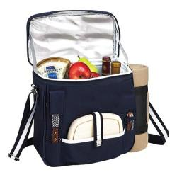Picnic at Ascot Wine and Cheese Cooler with Blanket Navy/White