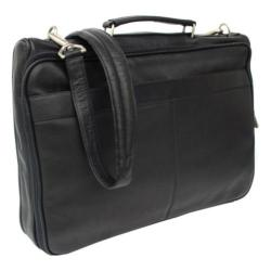 Piel Leather Double Executive Computer Bag 2361 Black Leather