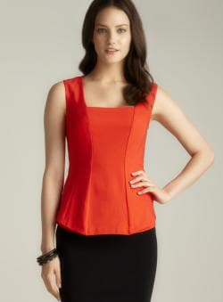 Philosophy Square Neck Exposed Seam Peplum