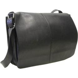 LeDonne Black Leather Flapover Messenger Bag