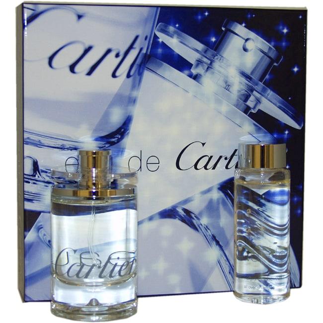 Eau De Cartier by Cartier for Unisex - 2 Pc Gift Set 3.3oz EDT Spray, 3.3oz All Over Shampoo