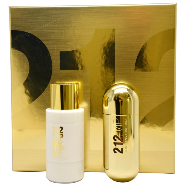 212 VIP by Carolina Herrera for Women - 2 Pc Gift Set 2.7oz EDP Spray, 6.75oz Body Lotion