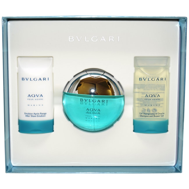 Bvlgari Aqva Marine by Bvlgari for Men - 3 Pc Gift Set 1.7oz EDT Spray, 2.5oz After Shave Emulsion, 2.5oz Shampoo and Shower Gel