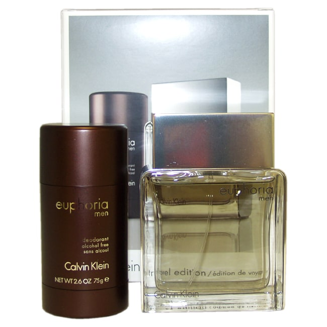 Euphoria by Calvin Klein for Men - 2 Pc Gift Set 3.4oz EDT Spray, 2.6oz Alcohol Free Deodorant Stick