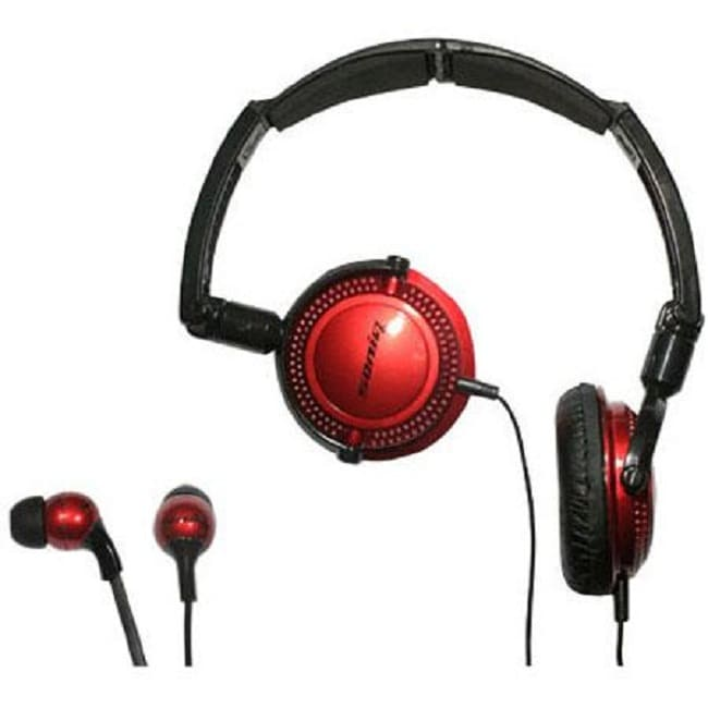 Soniq KABOOM! Headphone/Earphone Red Combo Pack