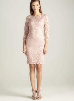 Marina 3/4 Sleeve Boatneck Lace Dress