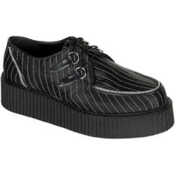 Men's Demonia Creeper 401 Black Satin/White Pinstripe