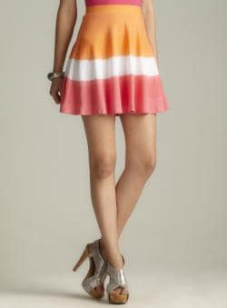 Derek Heart Dip Dye Fit &amp; Flare Skater Skirt