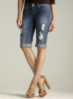 Seven7 Distressed Cuffed Denim Shorts