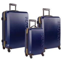 Nautica Ahoy Navy/Lighthouse Yellow 3-piece Hardside Spinner Luggage Set