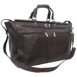 Piel Leather Carpet Bag with Pockets 9506 Chocolate Leather