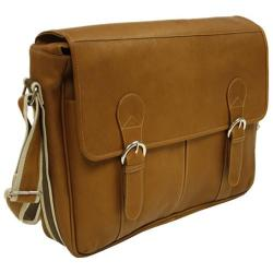 Piel Leather Classic Expandable Messenger Bag 2810 Saddle Leather