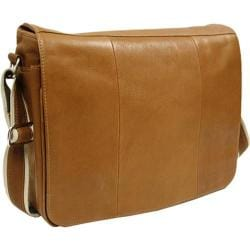 Piel Leather Expandable Messenger Bag 2813 Saddle Leather