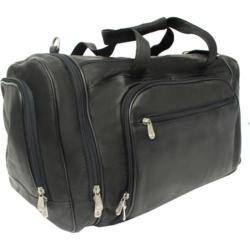 Piel Leather Multi Compartment Duffel Bag 2462 Black Leather