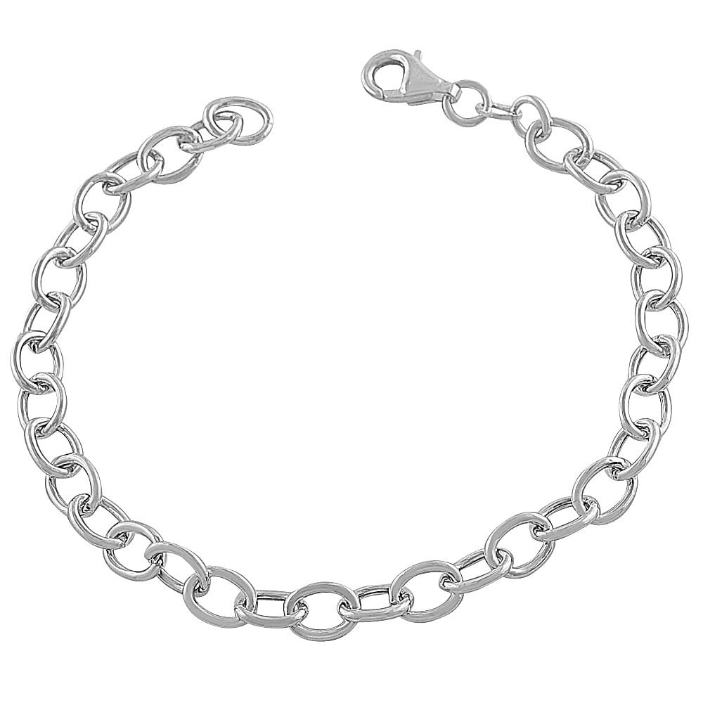sterling silver 6mm link charm bracelet 7 inch
