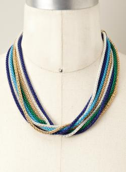 AKA Mystique Multi Color Metal Chain Necklace