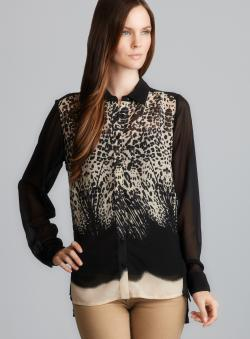 RD Style Long Sleeve Animal Print Chiffon Blouse