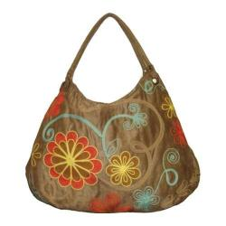 Women's Bamboo54 Hobo Embroidered Bag Tan/Blue Swirls