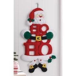 Ho-Ho-Ho Santa W/Feet Wall Hanging Felt Applique Kit - 10 X19-1/2