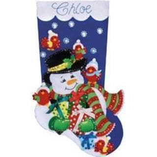 Snowman & Cardinals Stocking Felt Applique Kit - 18 Long
