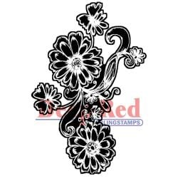 Deep Red Cling Stamp - Dianthus Chalk Flowers