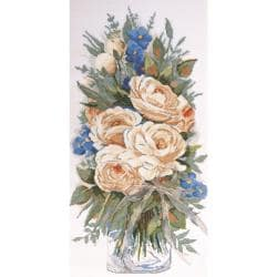 White Roses Counted Cross Stitch Kit - 11 X22 14 Count