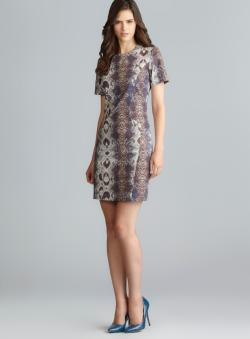 Walter Lucille Exposed Back Zipper Short Sleeve Snakeskin Print Dress