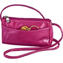 Women's David King Leather 3501 Florentine Top Zip Mini Bag Fuschia